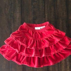 Hanna Andersson Velvet Red Skirt Ruffles sz 100/4